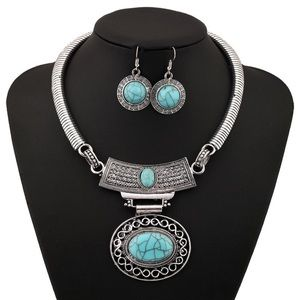 NEW Statement Necklace Earrings Turquoise Jewelry